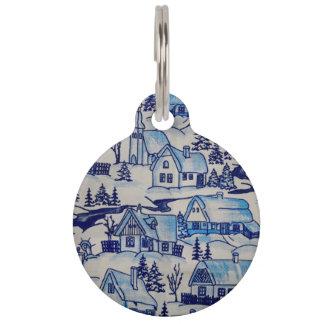 Vintage Blue Christmas Holiday Village Pet Name Tag