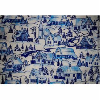 Vintage Blue Christmas Holiday Village Photo Sculpture Ornament