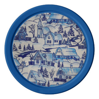 Vintage Blue Christmas Holiday Village Poker Chips Set
