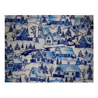 Vintage Blue Christmas Holiday Village Postcard