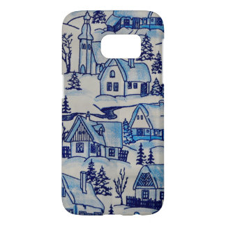 Vintage Blue Christmas Holiday Village Samsung Galaxy S7 Case