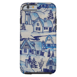 Vintage Blue Christmas Holiday Village Tough iPhone 6 Case