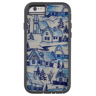 Vintage Blue Christmas Holiday Village Tough Xtreme iPhone 6 Case