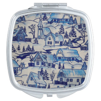 Vintage Blue Christmas Holiday Village Travel Mirrors
