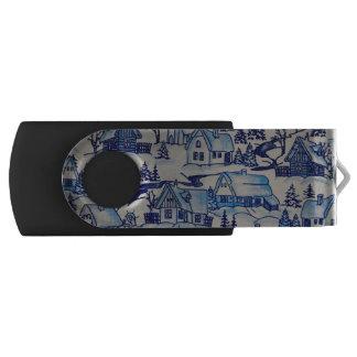Vintage Blue Christmas Holiday Village USB Flash Drive