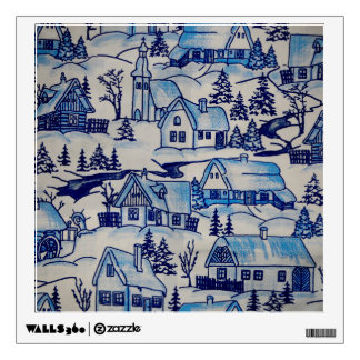 Vintage Blue Christmas Holiday Village Wall Sticker
