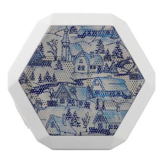 Vintage Blue Christmas Holiday Village White Bluetooth Speaker