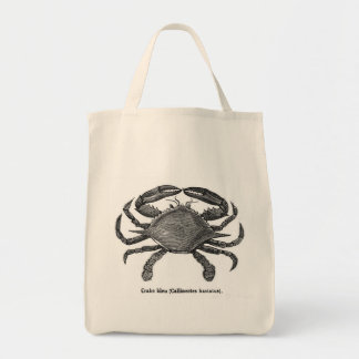 Vintage Blue Crab Canvas Tote