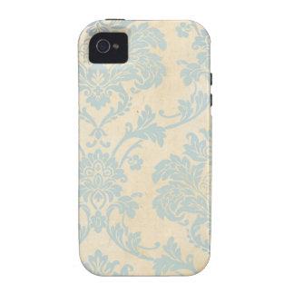 Vintage Blue Damask Case-Mate iPhone 4 Cases