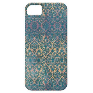 Vintage Blue Damask Floral Grunge iPhone Case