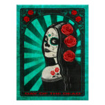 Vintage Blue Day of the Dead Girl Print