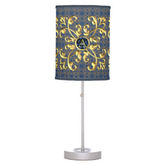 Vintage blue diamond with Initials golden metallic Table Lamp