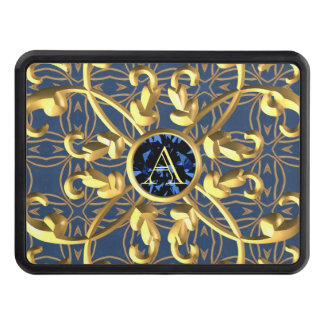 Vintage blue diamond with Initials golden metallic Trailer Hitch Cover