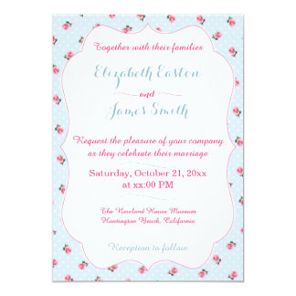 Vintage Blue Floral and Dots Wedding Invitation