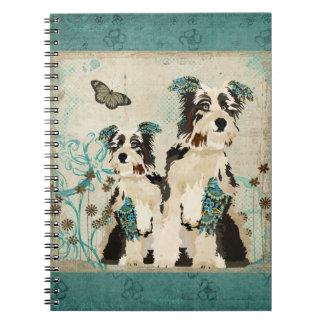 Vintage Blue Floral Dogs Notebook