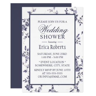 Vintage Blue Floral Elegant Wedding Shower Card
