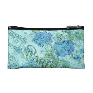 Vintage Blue Floral French Paris Postmark Pattern Cosmetic Bag
