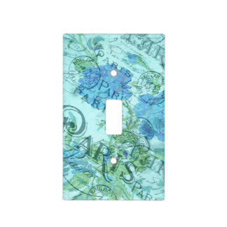 Vintage Blue Floral French Paris Postmark Pattern Light Switch Cover