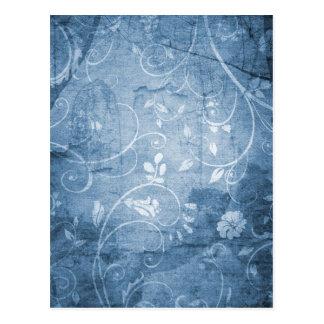 Vintage Blue Floral Pattern Postcard