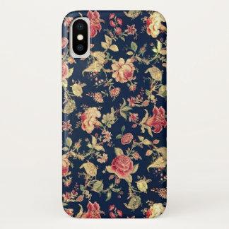 Vintage Blue Floral Rose Case-Mate iPhone Case