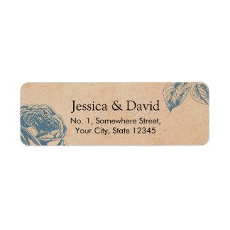 Vintage Blue Floral Rose Garden Wedding Return Address Label