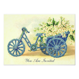 Vintage Blue Floral Tricycle Invitation