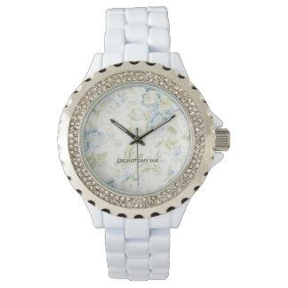 Vintage Blue Floral Wallpaper Wrist Watch