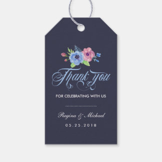 Vintage Blue Floral Wedding Thank You Gift Tag
