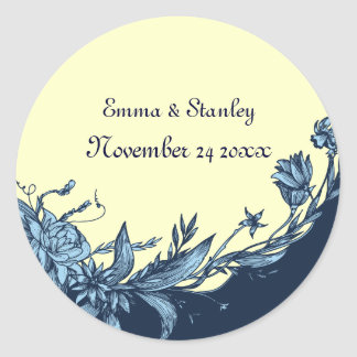 Vintage blue flowers pale yellow floral wedding classic round sticker