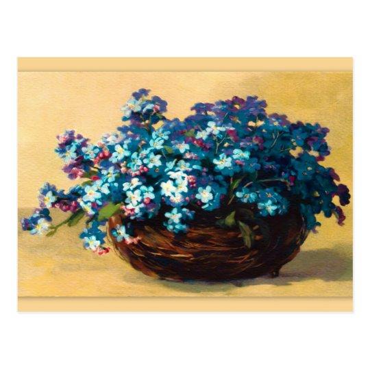 Vintage blue flowers postcard