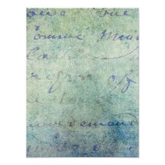 Vintage Blue French Script Parchment Paper Photo