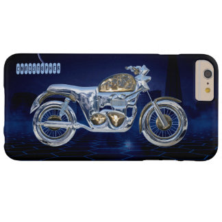 Vintage Blue Golden Sparkling Chrome Chopper Barely There iPhone 6 Plus Case