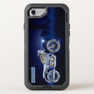 Vintage Blue Golden Sparkling Chrome Chopper OtterBox Defender iPhone 7 Case
