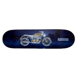 Vintage Blue Golden Sparkling Chrome Chopper Skate Board