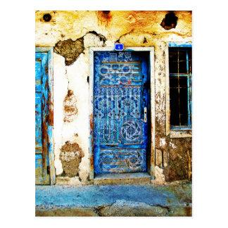 Vintage Blue Greek Door Rustic Style Postcard