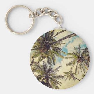 Vintage Blue Hawaii Kauai Palm Tree Keychain