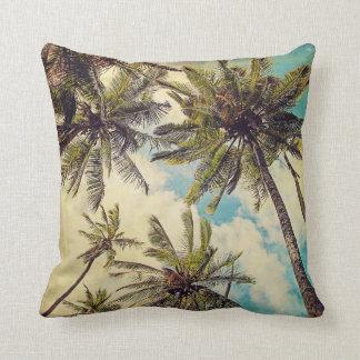 Vintage Blue Hawaii Palms - Kauai Throw Pillow