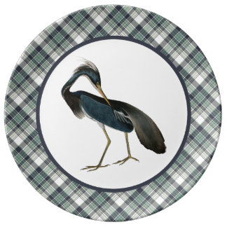 Vintage Blue Heron with Blue Plaid Pattern Border Porcelain Plates