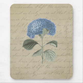 Vintage Blue Hydrangea Floral Antique Calligraphy Mouse Pad