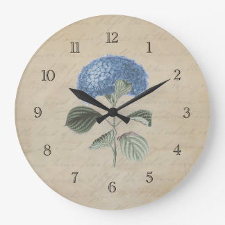 Vintage Blue Hydrangea Flower Large Clock