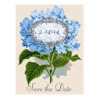 Vintage Blue Hydrangea Frame Save the Date Card