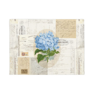Vintage Blue Hydrangea French Ephemera Doormat