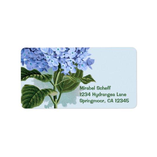 Vintage Blue Hydrangea Label