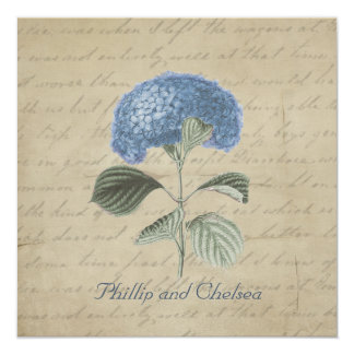 Vintage Blue Hydrangea Wedding Card