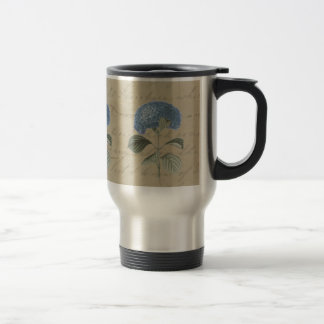 Vintage Blue Hydrangea with Antique Calligraphy 15 Oz Stainless Steel Travel Mug