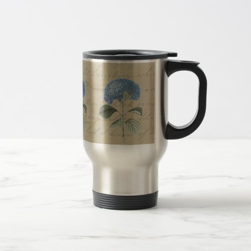 Vintage Blue Hydrangea with Antique Calligraphy Coffee Mug