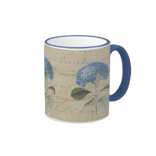 Vintage Blue Hydrangea with Antique Calligraphy Coffee Mugs