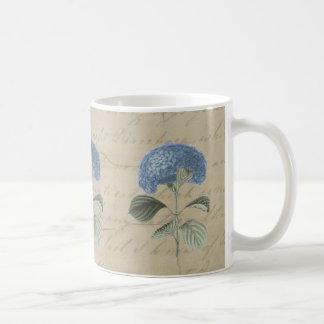 Vintage Blue Hydrangea with Antique Calligraphy Basic White Mug