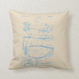 Vintage Blue Ink Fishing Lure Patent Pillow