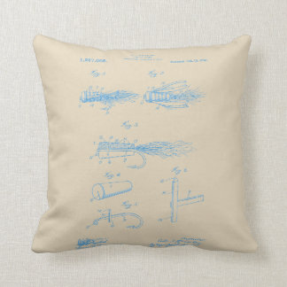 Vintage Blue Ink Fishing Lure Pillow